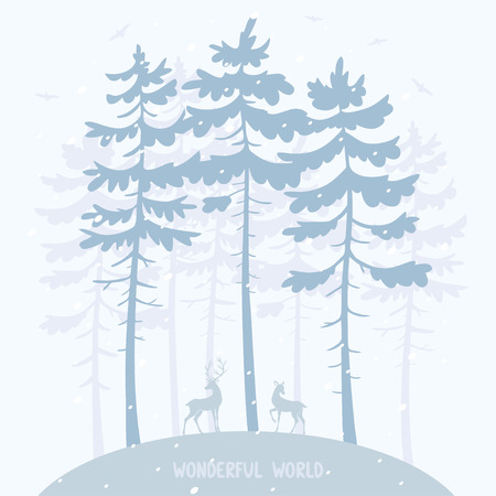lodge: Silhouette of amazing pines and two beautiful deer. Stylish vector illustration