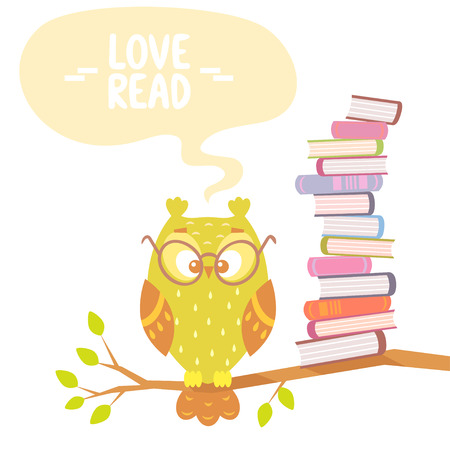 Stylish flat card with beautiful and funny owl and books with place for text Vector