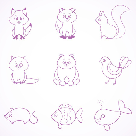 Stylish set beautiful flat animals draw a simple line Vector