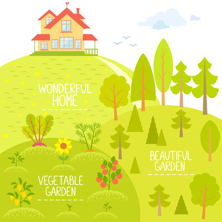 Stylish flat card with beautiful house on the hill and garden in cartoon style with place for text Vector