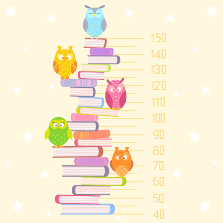 Stylish flat beautiful and funny owls sitting on the pile of books