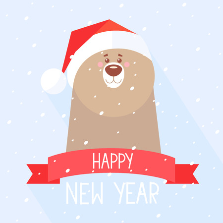 new year's cap: Stylish flat new year card with funny and cute bear