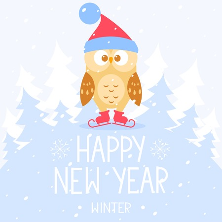 christmas owl: flat illustration for Christmas and New Year cute owl on skates with place for text