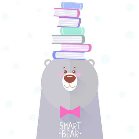bála: Stílusos lapos kártya vicces és aranyos medve könyvek a fején Illusztráció