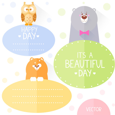 beautiful set with circle frame and funny animals owl bear and cat with place for text in flat style Vector