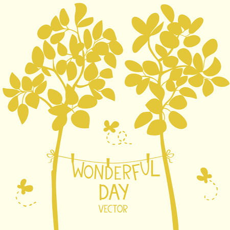 Silhouette beautiful two trees with text on a clothesline. Vector illustration Иллюстрация