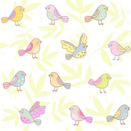 Stylish beautiful doodle pattern with cute birds. Vector illustration Illustration