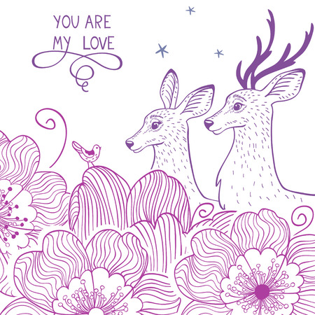 silhouettes of stylish and beautiful card with two deer and flowers