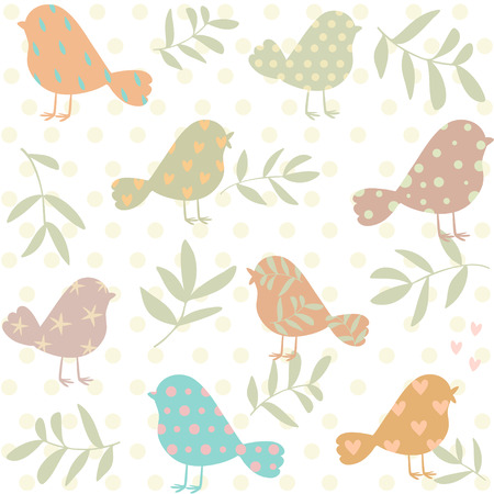 Stylish beautiful vintage pattern with cute silhouette birds. Vector illustration Illustration