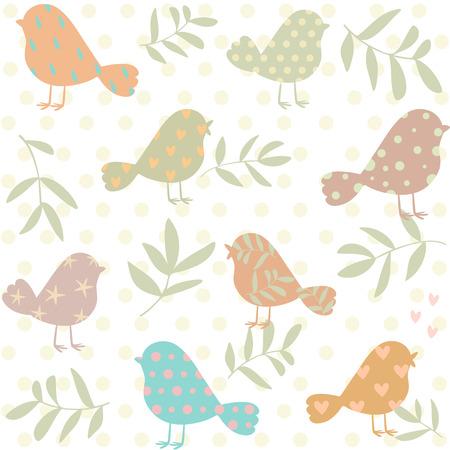 birds silhouette: Stylish beautiful vintage pattern with cute silhouette birds. Vector illustration Illustration