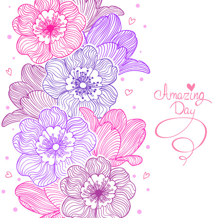 emplate: stylish and beautiful card with doodle flowers. Vector illustration