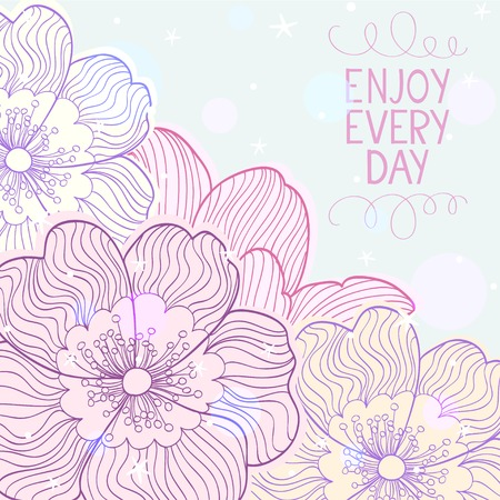 stylish and beautiful card with doodle flowers with place for text. Vector illustration