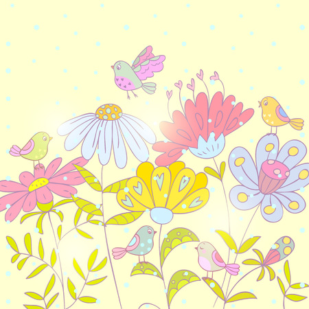 beautiful floral card with cute and funny cartoon birds