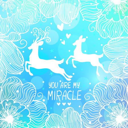 milagre: cartão bonito com cervos surpreendente em um fundo azul com texto - você é meu milagre Ilustração