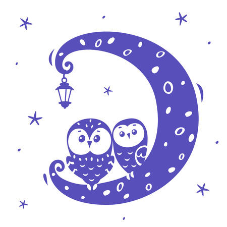 illustration silhouette cartoon cute and funny owls on the moon Иллюстрация