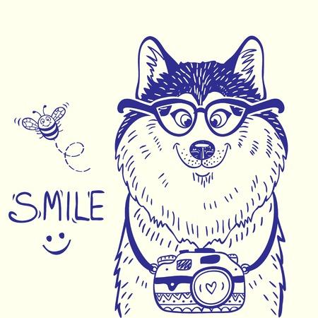 Modieuze kaart met silhouetten cartoon schattige hond husky met een bril en camera. Vector illustratie