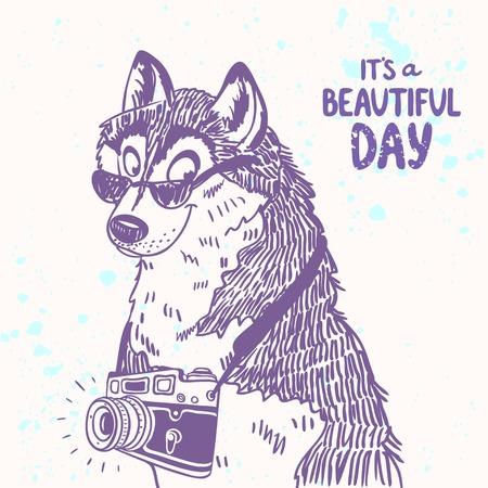illustratie cartoon leuke doodle husky hond met een bril en fototoestel