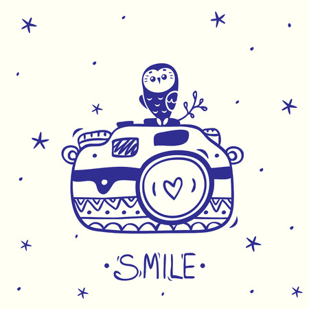 Stylish card with silhouettes sketch vintage retro photo camera with cute owl. Vector illustration Фото со стока - 35111809