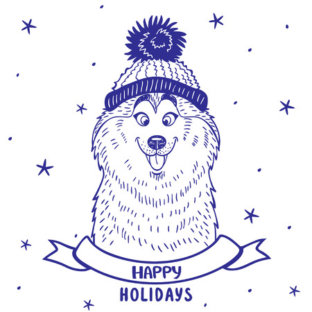 �siberian husky�: silhouette cartoon cute and funny siberian husky in a hat with a pompon