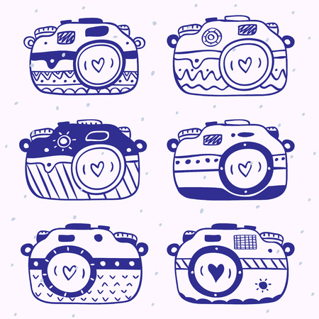 beautiful silhouettes sketch vintage retro photo camera. Vector illustration