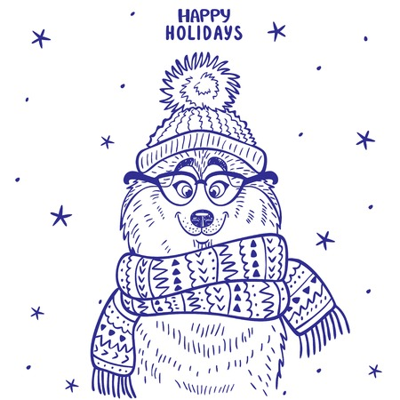 pompon: silhouette cartoon cute and funny siberian husky in a hat with a pompon and in glasses and scarf