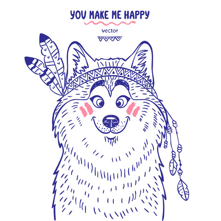 Stylish silhouettes cartoon cute dog husky dressed as an Indian. Vector illustration