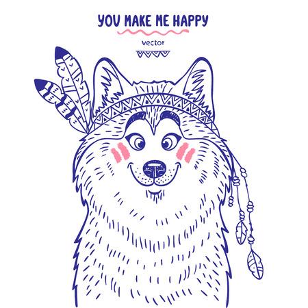 Stylish silhouettes cartoon cute dog husky dressed as an Indian. Vector illustration Vector Illustration