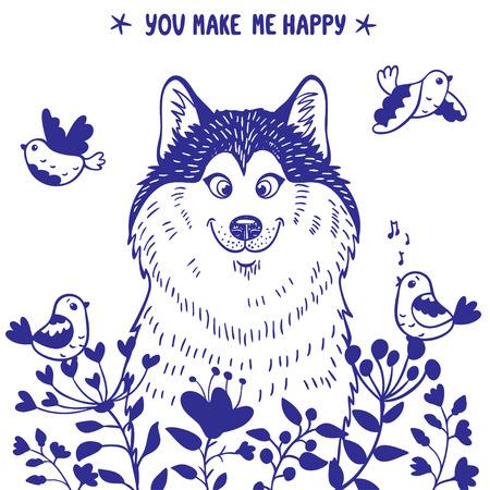 alaskabo: Snygg kort med silhuetter karikatyr söta hund husky med fåglar och blommor. Vektor illustration