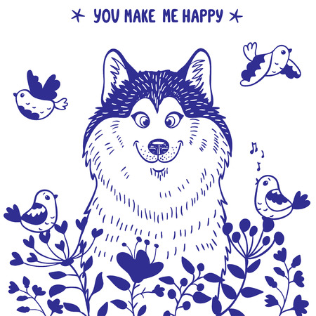 Stylish card with silhouettes cartoon cute dog husky with birds and flowers. Vector illustration