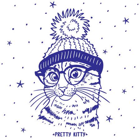silhouet cartoon leuk en grappig katje in een hoed met een pompon en in glazen Stock Illustratie
