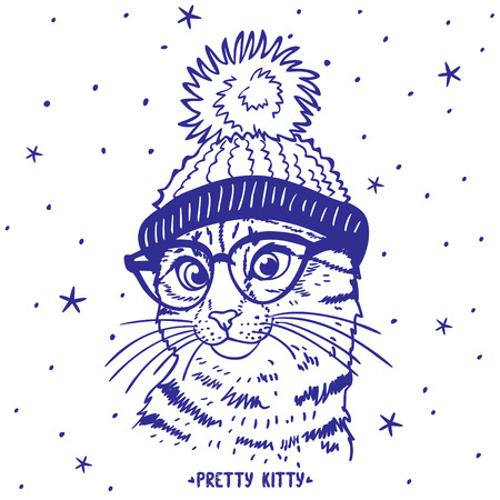 silhouette cartoon cute and funny kitten in a hat with a pompon and in glasses