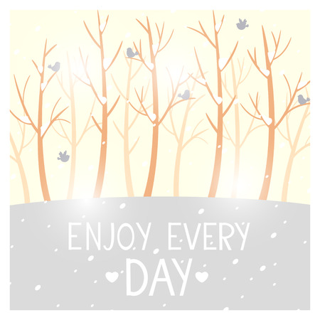 Simple and beautiful winter card with trees without leaves with place for text Vector