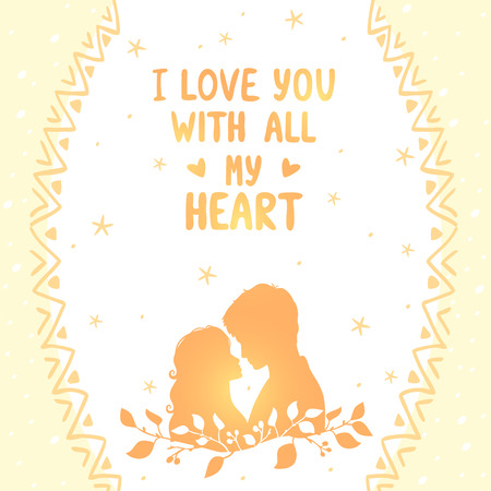 loving: illustration doodle silhouette card of loving couple with place for text