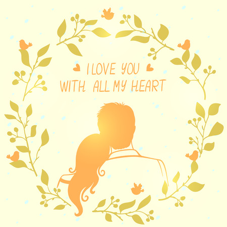 loving couple: illustration doodle silhouette of loving couple in flower frame with place for text Illustration