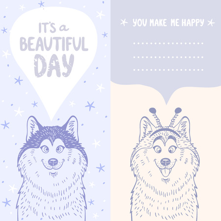 beautiful card template with place for text with cartoon cute and funny dog husky Vector
