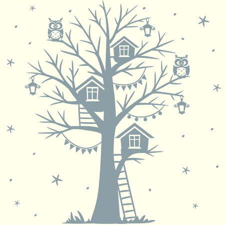 silhouette fairytale tree with houses and with cartoon funny owls