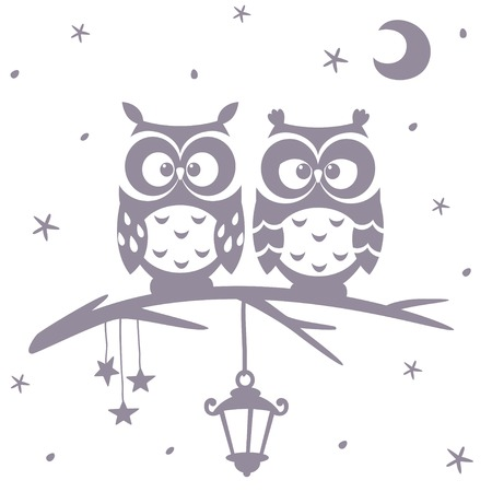 illustration silhouette cartoon cute and funny owls sitting on a branch Ilustração