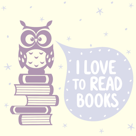 silhouette beautiful and cute owl sitting on of books with place for text in cloud