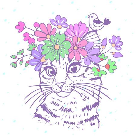 Mooie en leuke hand getrokken kat met een bloemenkrans op het hoofd Stock Illustratie