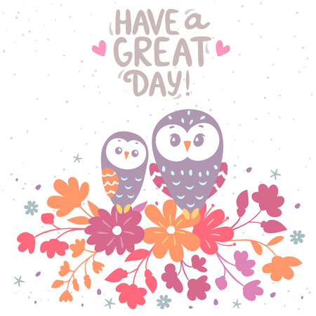 artoon: illustration cartoon cute owls sitting on a flowers with place for text