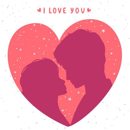 loving: illustration card silhouette of loving couple in heart frame Illustration