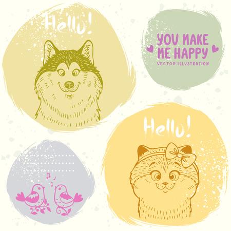 malamute: Stylish grange set cards of funny and cute kitten, dog and birds Illustration
