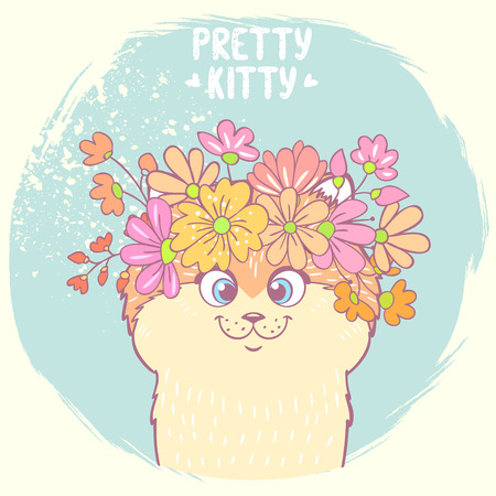 smiling cat: Beautiful and cute hand drawn kitty with a floral wreath on head