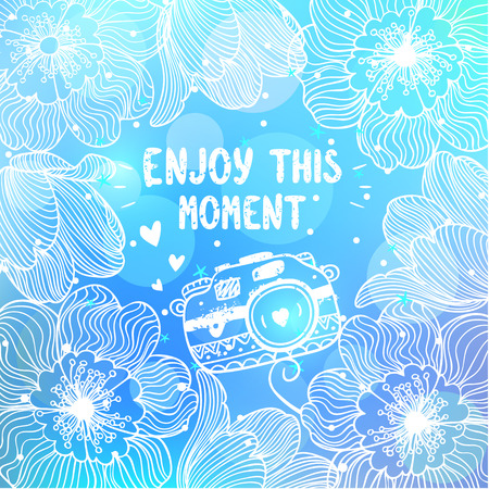 beautiful card with amazing flowers on a blue background with place for text