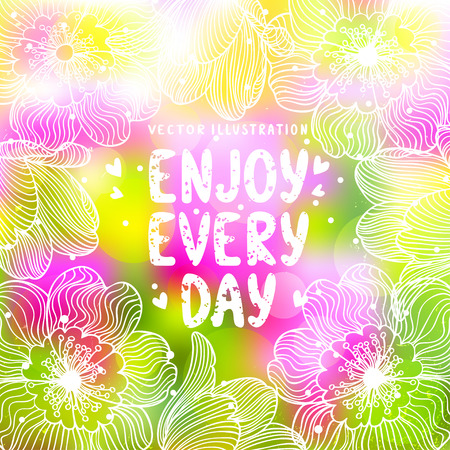 gently blue: beautiful blurred amazing flowers background with place for text Illustration