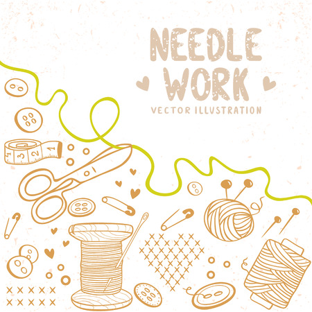 needlecraft: beautiful design doodle silhouette set subject for needlework with place for text