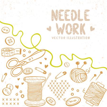 kit de costura: hermoso diseño doodle silueta tema para la costura con el lugar de texto