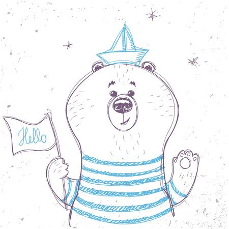 marinero: siluetas de dibujos animados oso marinero lindo en el estilo de dibujo. Ilustración vectorial