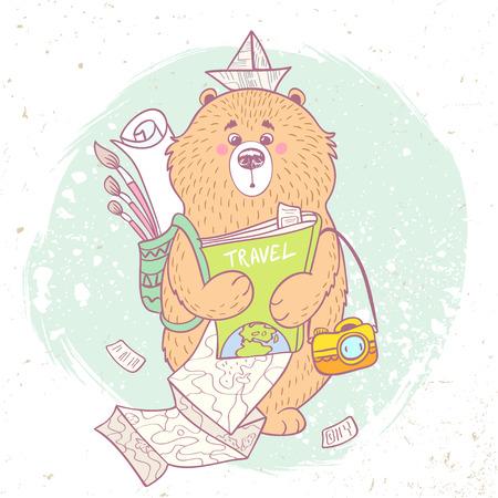 Beautiful cartoon traveling bear with camera, painting supplies, book and camera. Vector illustration Vector