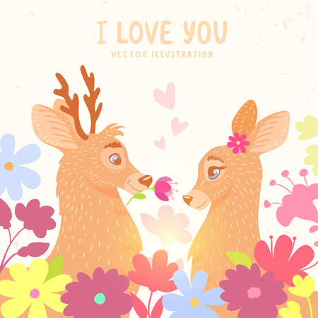roe: Amazing stylish and beautiful card with two cartoon deer in flowers. Card for Valentines Day Illustration